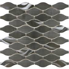 stainless steel mosaic tile backsplash shop allen roth metal twist wave mosaic stainless steel wall
