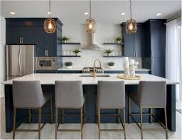 what color appliances with blue cabinets forever classic blue kitchen cabinets centsational style