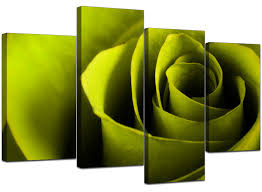 Lime Green Flowers - canvas wall art of a rose in green for your living room
