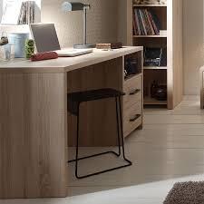 bureau chene clair contemporain 2 tiroirs alix coloris chêne clair