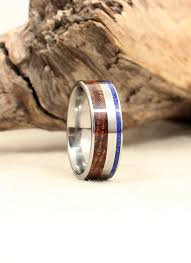 wood rings wedding hawaiian koa wooden ring and lapis lazuli deconstructed titanium