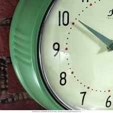 green fifties style kitchen wall clock infinity wall clocks
