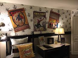 boys comic book bedroom black and white spider man wall paper