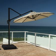 10 Foot Patio Umbrella Shop Rst Brands Slate Grey Offset 10 Ft Patio Umbrella With Base
