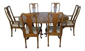 Baker Dining Room Furniture Baker Furniture Banded Oak Dining Set 1980s Chairish