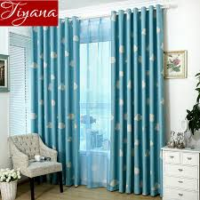 Teal Living Room Curtains White Cloud Blue Curtains Window Screen Voile Kids Room Modern