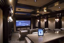 home theater design in modern style with three lighting fixtures