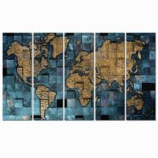 World Map Canvas Amazon Com 5 Panel World Map Canvas Printing Modern Pop Poster