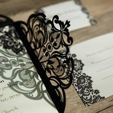 and black wedding invitations black lace pattern laser cut wedding invitations ewws062