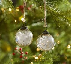 silver mercury glass ornaments set of 12 pottery barn