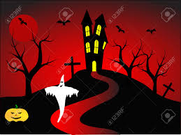 happy ghost clipart a halloween vector illustration with a happy ghost in front of
