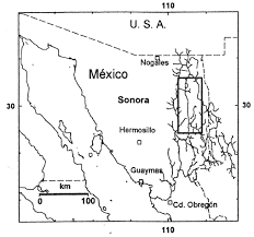 Northern Mexico Map by Gallo J P 1996 Distribution Of The Neotropical River Otter