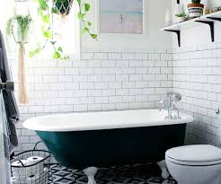top bathroom designs pattern floor tile white subway tile greeny black roll top