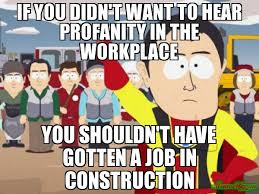 Meme Construction - if you didn t want to hear profanity in the workplace you shouldn t