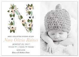bundled florals birth announcement card flat dear addie