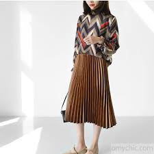 pleated skirts chocolate satin pleated skirts summer knee skirt 2017 collection