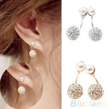 front to back earrings women s rhinestone faux pearl front back earrings ear studs