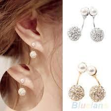 back earrings women s rhinestone faux pearl front back earrings ear studs
