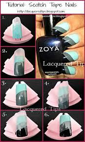 easy scotch tape nail art aqua and black color block nails