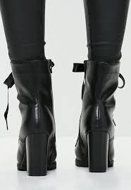 ribbon heels black ribbon tie heeled ankle boots missguided