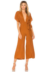 plunging jumpsuit faithfull the brand cedric plunging jumpsuit plain burnt