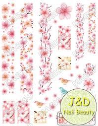 wholesale 24pcs comic pink sakura nail art sticker cherry blooms