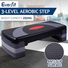 everfit aerobic gym workout exercise cardio fitness bench blook
