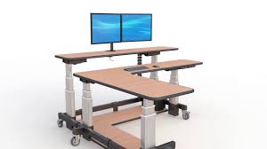Jesper Sit Stand Desk by Two Level L Shaped Sit Stand Desk Youtube