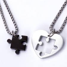 couple necklace chains images Jigsaw puzzle heart pendant couple necklaces evermarker jpg