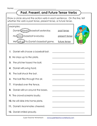 past present and future tense verbs 1st 2nd grade worksheet