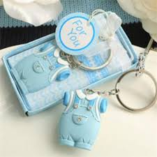 baptism keychain free shipping 10pcs lot baby shower favors blue clothes design