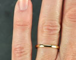 2mm wedding band 14k yellow gold wedding band simple gold ring 2mm stacking
