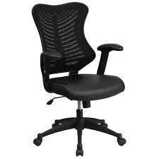 Office Chair Black Leather Mesh Office Chair Computer Chair Ergonomic Office Chair