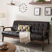 baxton studio masterpiece mid century dark brown faux leather
