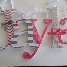 pink and grey custom wooden nursery decor letters baby