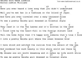 country music geisha hank locklin lyrics and chords