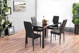 Black Glass Dining Table And 4 Chairs Designer Rectangle Black Glass Dining Table 4 Chairs Set