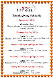 thanksgiving week schedule rpm fitness studio personal