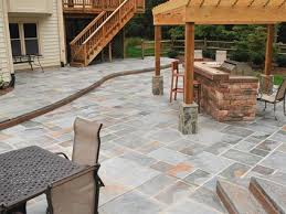 Decorative Concrete Patio Contractor Stone Patios Stamped Concrete Mimics Stone Pavers The
