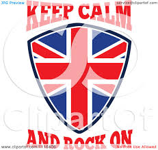 clipart union jack british flag shield with keep calm and rock on