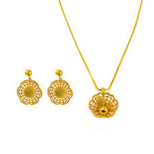 yellow gold necklace sets images 22k yellow gold necklace earrings set w open pattern nest jpg