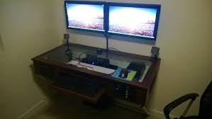 homemade double computer desk also luxury cool ideas with simple gallery of homemade double computer desk trends and pictures clean dual monitor stand throughout simple with