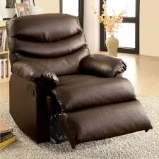 leather recliner chairs furniture of america pleasant valley dark brown bonded leather