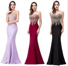 wholesale new elegant gold appliques cheap long mermaid bridesmaid