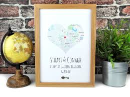 heart map location print new home print frame house warming map