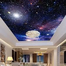 revetement plafond chambre personnalisé 3d photo papier peint étoilé ciel plafond murales