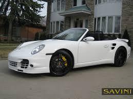 porsche 911 convertible black 997 savini wheels