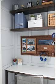 Teen Boy Bedroom Ideas by Desk In Boy U0027s Bedroom With Baskets Of Sports Gear On Wall Our