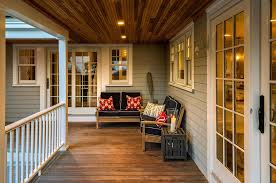 Exterior Beadboard Porch Ceiling - stained porch ceiling exterior traditional with stone wall