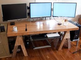 3 Monitor Computer Desk Large Computer Desk For 3 Monitors Home Design Ideas
